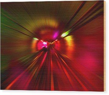 Wood Print featuring the digital art Speed - Metro Subway Train by Menega Sabidussi