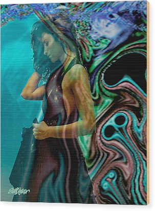 Wood Print featuring the digital art Spell Of A Woman by Seth Weaver