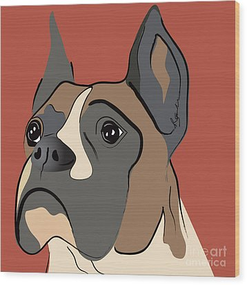 Spencer Boxer Dog Portrait Wood Print