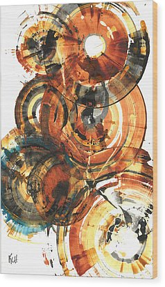 Wood Print featuring the painting Sphere Series 1022.050212 by Kris Haas
