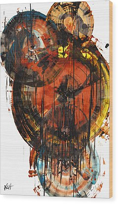 Wood Print featuring the painting Sphere Series 1023.050312 by Kris Haas