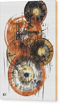 Wood Print featuring the painting Sphere Series 1028.050412 by Kris Haas
