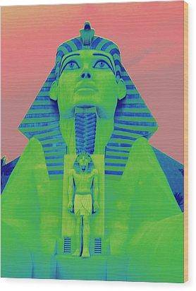 Sphinx And Pink Sky Wood Print by Karen J Shine