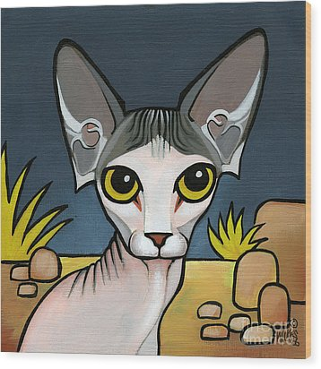 Sphinx Cat Wood Print by Leanne Wilkes