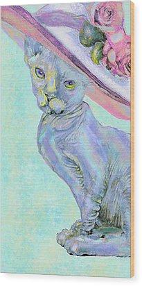 Sphinx In Pink Hat Wood Print by Jane Schnetlage