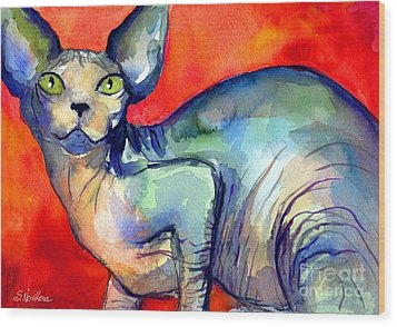 Sphynx Cat 6 Painting Wood Print by Svetlana Novikova