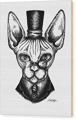 Sphynx Gentleman Wood Print by Akiko Okabe
