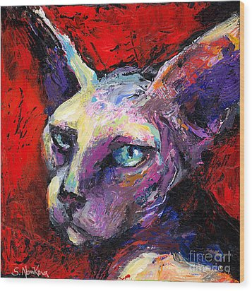 Sphynx Sphinx Cat Painting  Wood Print by Svetlana Novikova