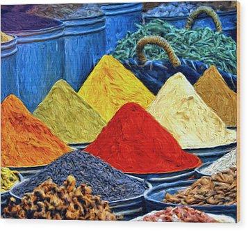 Spice Market In Casablanca Wood Print