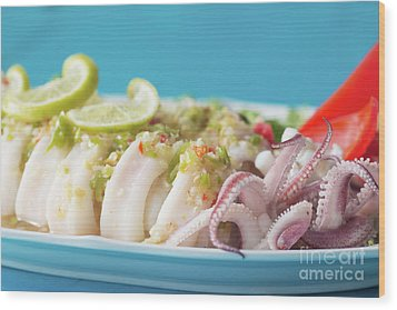 Wood Print featuring the photograph Spicy Food, Steamed Squid by Atiketta Sangasaeng