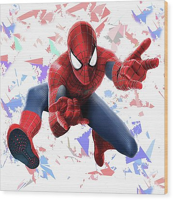 Wood Print featuring the mixed media Spider Man Splash Super Hero Series by Movie Poster Prints