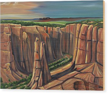 Spider Rock Canyon De Chelly Ar Wood Print by George Chacon
