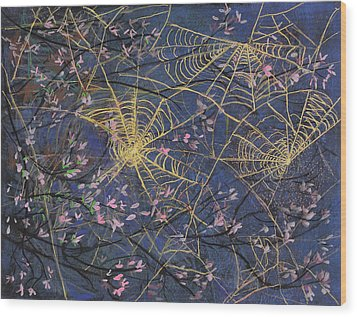 Spider Webs And Bloosoms Wood Print by Ethel Vrana