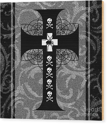 Spiderweb Skull Cross Wood Print by Roseanne Jones