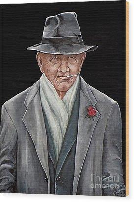 Spiffy Old Man Wood Print by Judy Kirouac