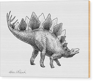 Wood Print featuring the drawing Spike The Stegosaurus - Black And White Dinosaur Drawing by Karen Whitworth
