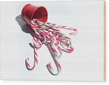 Spilled Candy Canes Wood Print