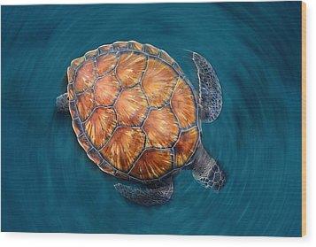 Spin Turtle Wood Print by Sergi Garcia