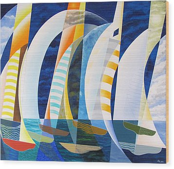 Wood Print featuring the painting Spinnakers Up by Douglas Pike