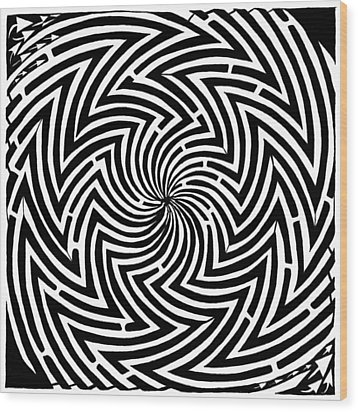 Spinning Optical Illusion Maze Wood Print by Yonatan Frimer Maze Artist