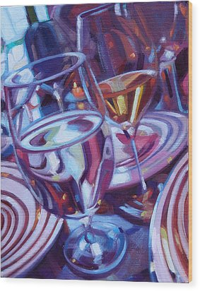 Spinning Plates Wood Print by Penelope Moore