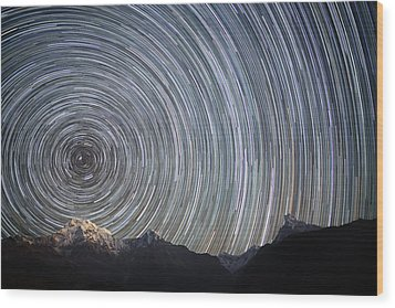 Spinning Stars Above Himalayas Wood Print by Anton Jankovoy