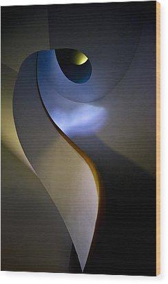 Spiral Concrete Modern Staircase Wood Print