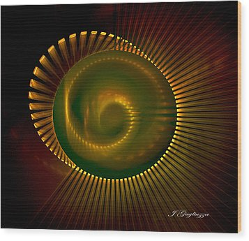 Spiral Light Wood Print by Jean Gugliuzza