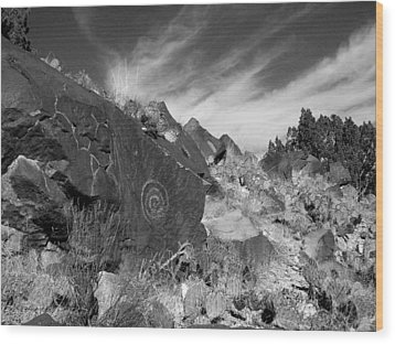 Spiral Petroglyph Wood Print