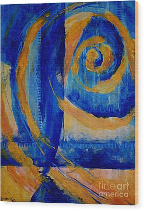 Spiral Sea Wood Print by Dee Youmans-Miller