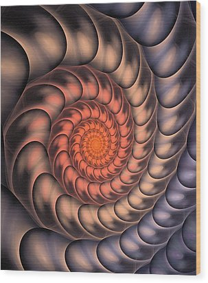 Wood Print featuring the digital art Spiral Shell by Anastasiya Malakhova