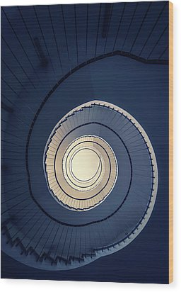 Spiral Staircase In Blue And Cream Tones Wood Print by Jaroslaw Blaminsky
