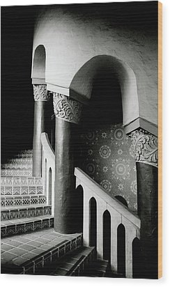 Spiral Stairs- Black And White Photo By Linda Woods Wood Print by Linda Woods