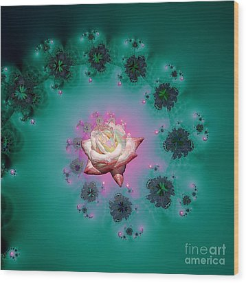 Spiral To A Rose Fractal 140 Wood Print by Rose Santuci-Sofranko