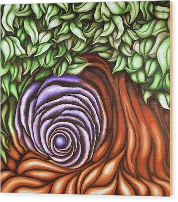 Spiral Tree Wood Print