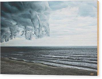 Spiraling Storm Clouds Over Daytona Beach, Florida Wood Print