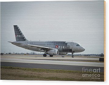 Wood Print featuring the photograph Spirit Airlines A319 Airbus N523nk Airplane Art by Reid Callaway
