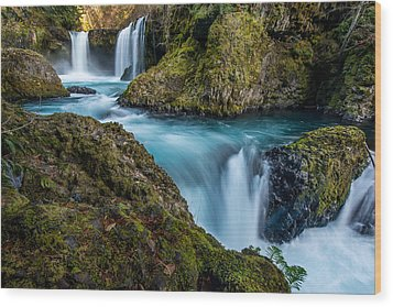 Spirit Falls Columbia River Gorge Wood Print by Rick Dunnuck