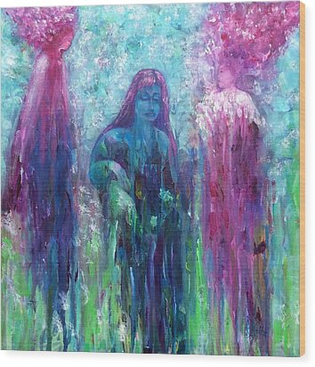 Spirit Guides Surround Us Wood Print by Arlene Holtz