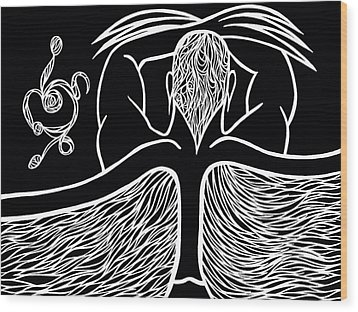 Wood Print featuring the drawing Spirit II by Jamie Lynn