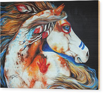 Spirit Indian War Horse Wood Print by Marcia Baldwin