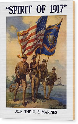 Spirit Of 1917 - Join The Us Marines  Wood Print by War Is Hell Store
