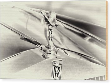 Spirit Of Ecstasy Classic Car Hood Ornament Wood Print by Ann Powell