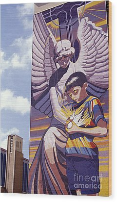 Spirit Of Healing Mural San Antonio Texas Wood Print by John  Mitchell
