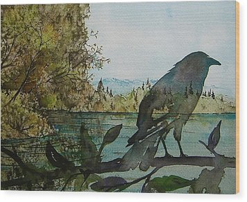 Spirit Raven Wood Print by Carolyn Doe