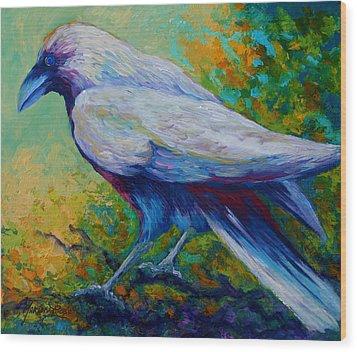 Spirit Raven Wood Print by Marion Rose