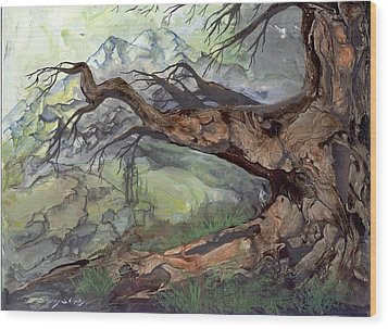 Wood Print featuring the painting Spirit Tree by Sherry Shipley