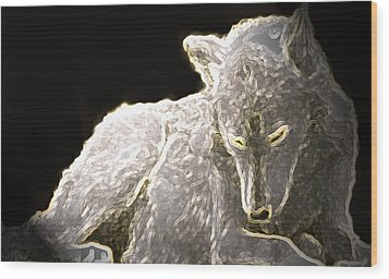 Wood Print featuring the mixed media Spirit Wolf by Debra     Vatalaro