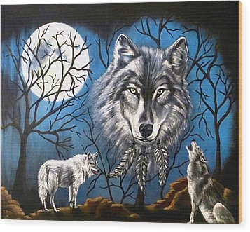 Wood Print featuring the painting Spirit Wolf by Teresa Wing