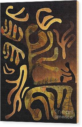 Spiritual Drummer Wood Print by Sarah Loft